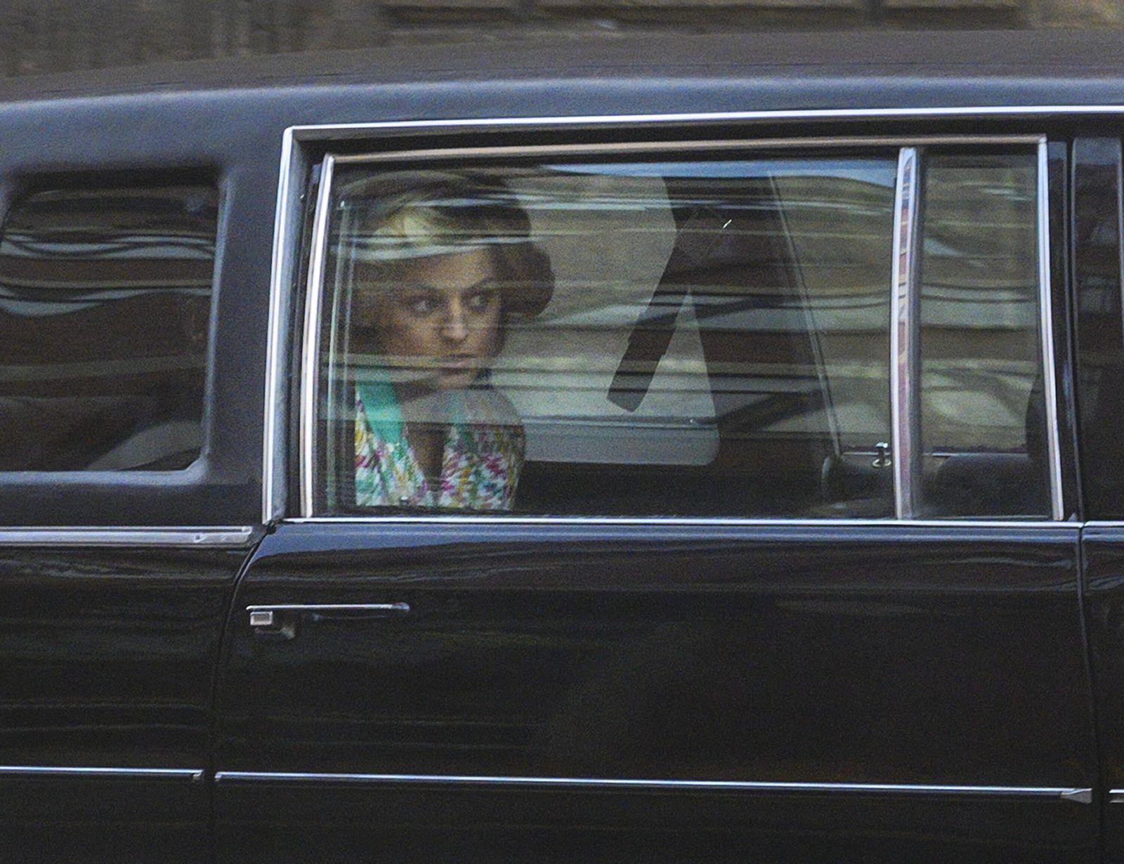 February 8, 2020, Manchester, United Kingdom: Actress EMMA CORRIN is seen in a limo as she plays Diana, Princess of Wale