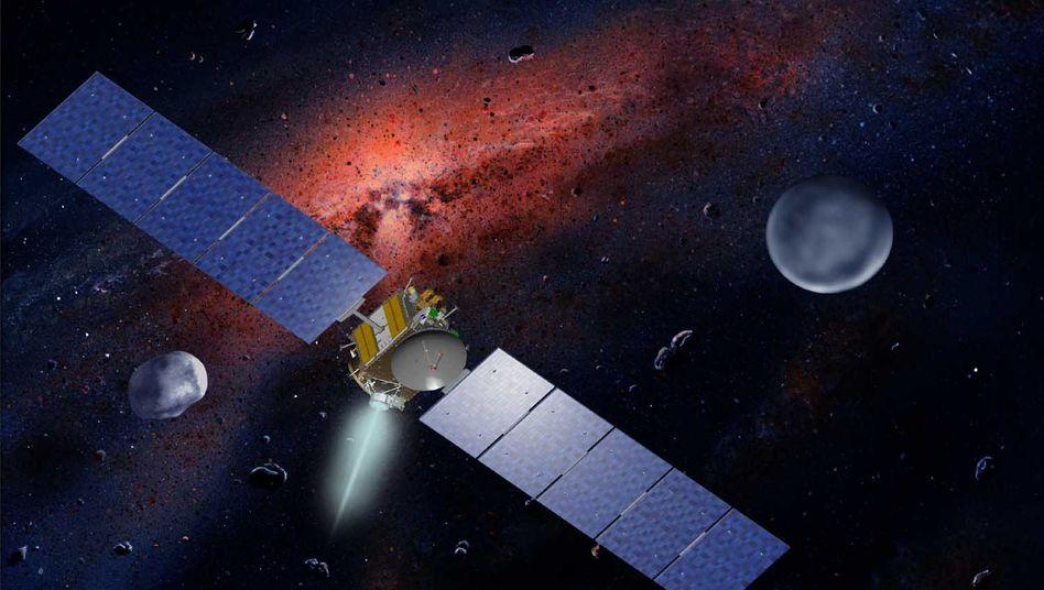 """Raumfahrtsonde """"Dawn"""" mit Ceres und Vista (künstlerische Darstellung)"""