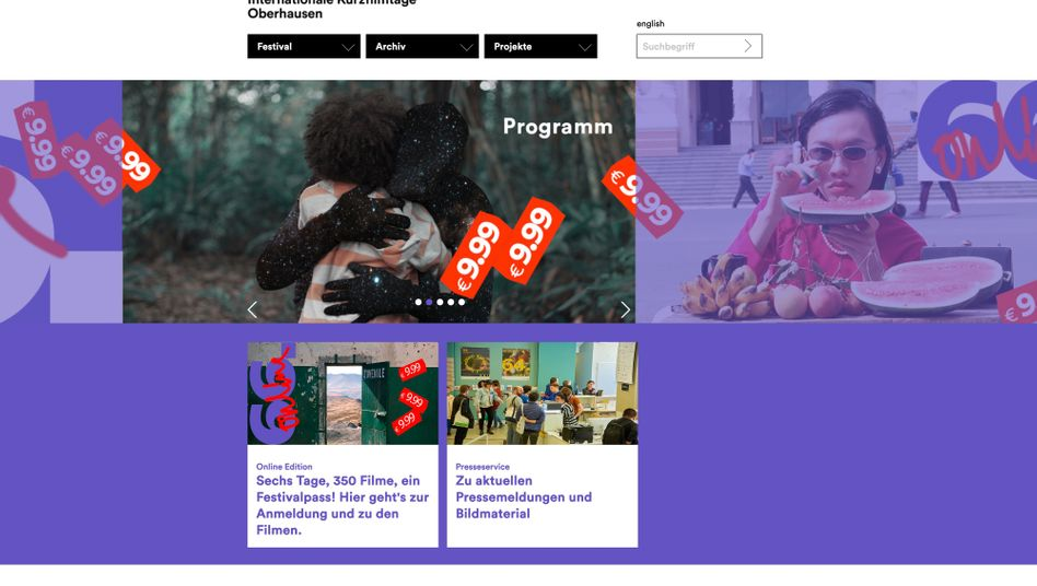 Homepage der Kurzfilmtage Oberhausen