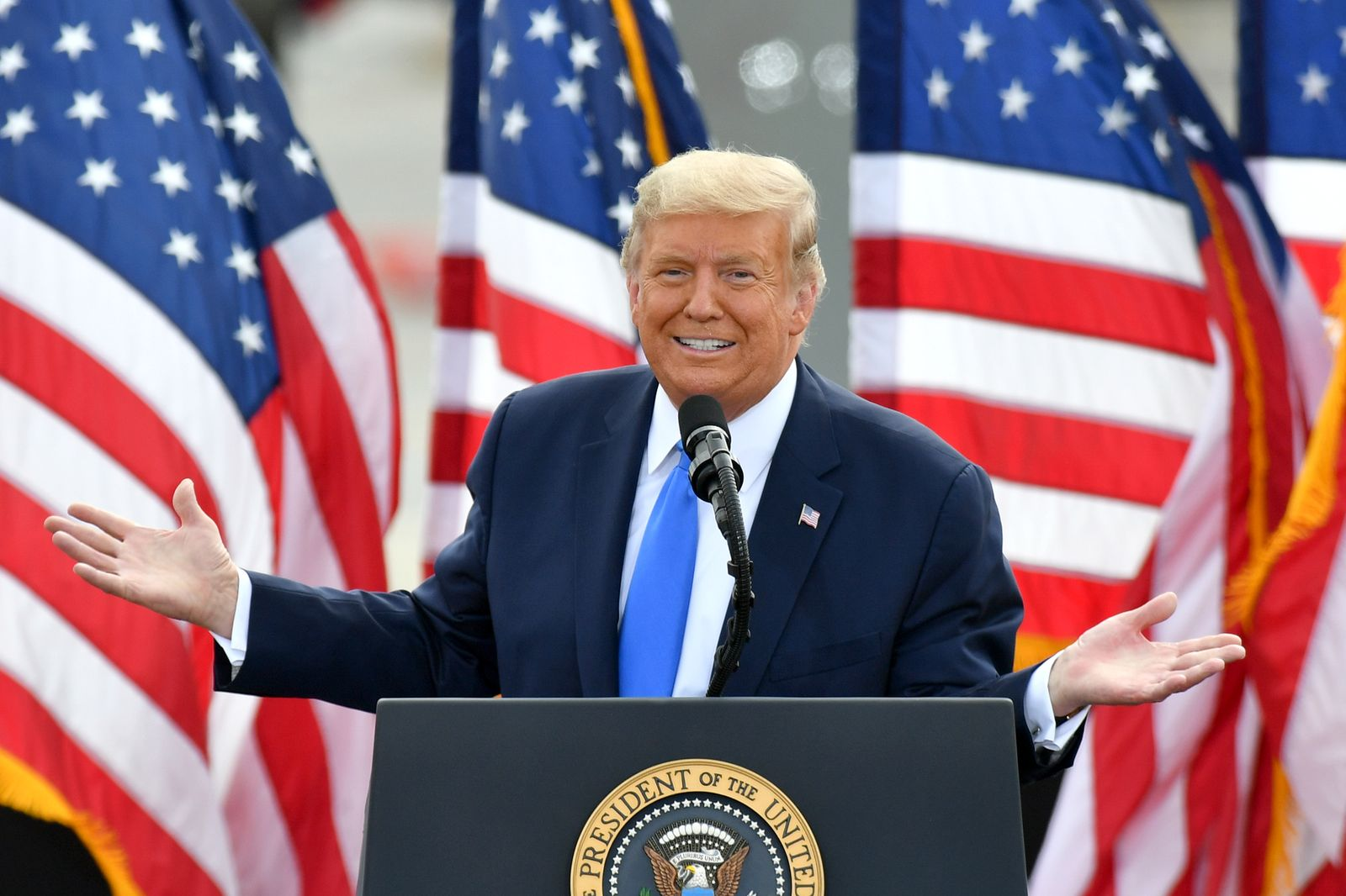 US President Donald Trump visits Greenville