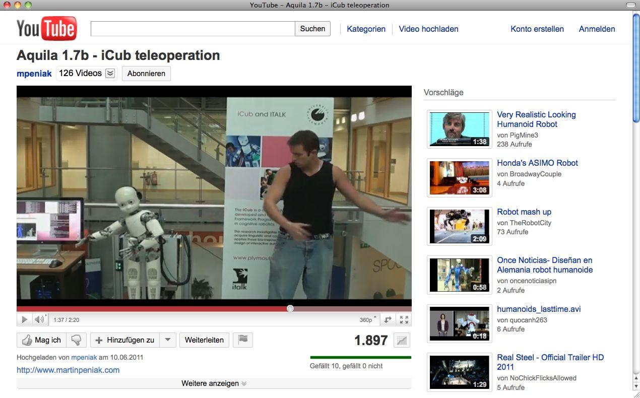 SCREENSHOT iCub Robot / YouTube