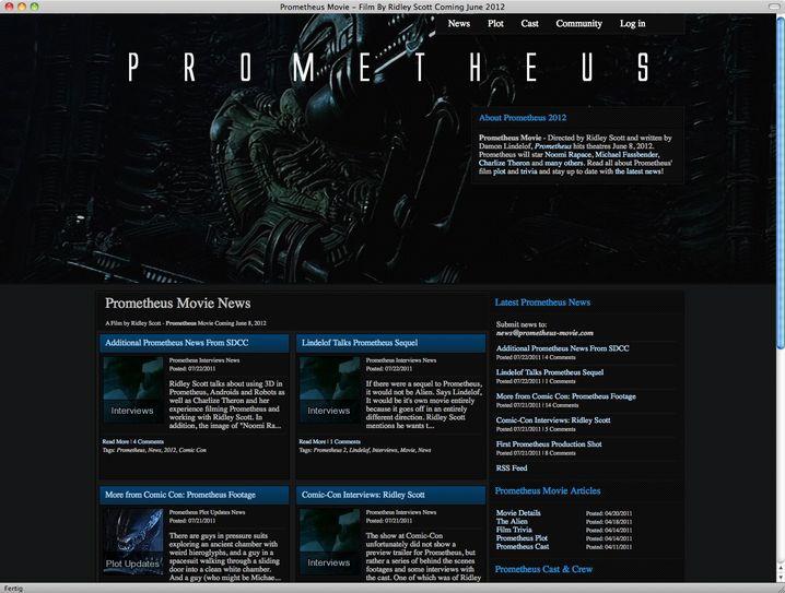 """Website von """"Prometheus"""": Bislang wenig Erhellendes zum lichtbringenden Titan"""