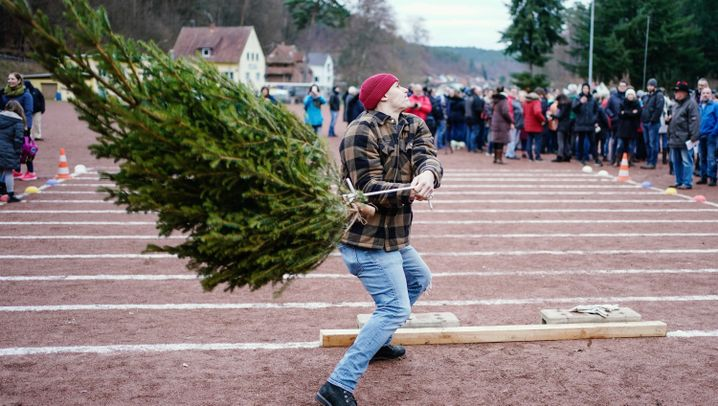 Weihnachtsbaumwerfen: Weltmeister in einer seltsamen Sportart