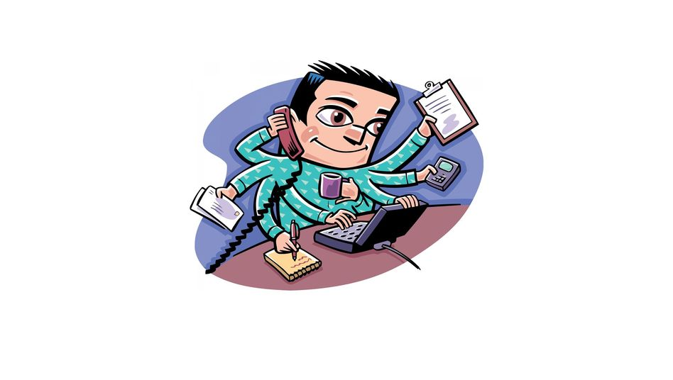 Der Mann als Multitasking-Held: Hauptsache, der Kaffee landet nicht auf dem Notebook!