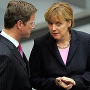 """Kanzlerin Merkel und FDP-Chef Westerwelle: Mit dem Lockruf """"geordneter Verhältnisse"""" einen neuen Anlauf starten"""