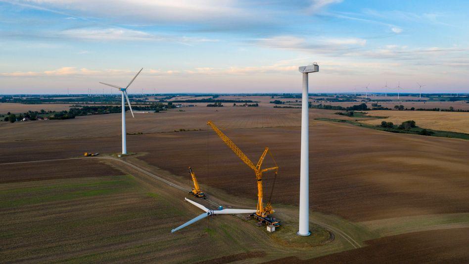 Demontierte Windkraftanlage in der Uckermark, August 2020