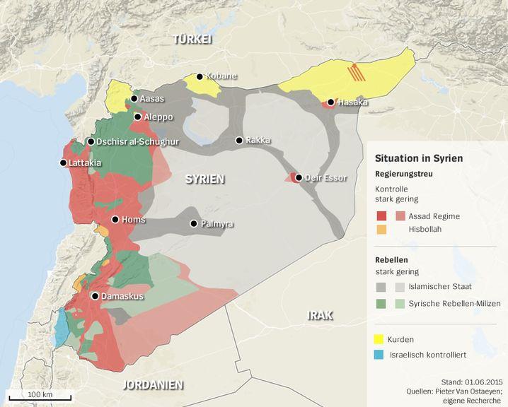 Wer herrscht wo in Syrien? Klicken Sie in die Karte (Stand: Juni 2015)