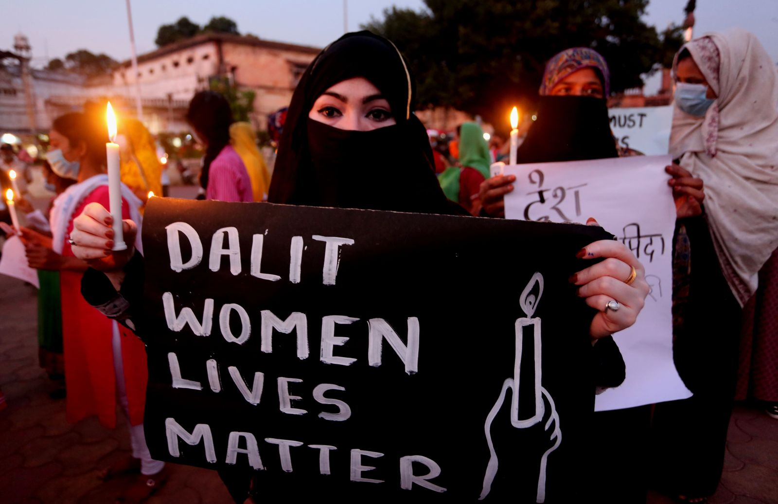 Protest against an alleged gang rape of a 19 years old Dalit girl in Bhopal, India - 01 Oct 2020