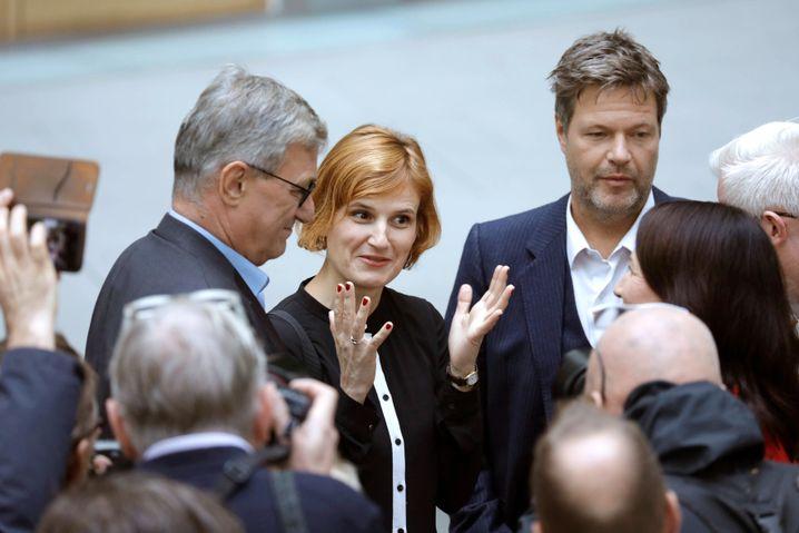 Linkenchefs Bernd Riexinger, Katja Kipping mit dem Grünenvorsitzenden Robert Habeck (Archiv)
