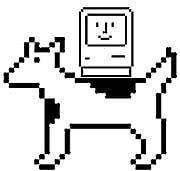 """Zwei von Kares """"Helden"""": Der lächelnde Mac bescherte dem Rechenknecht einen Imagewechsel, und """"Moof"""" alias Clarus wurde zur ersten Desktop-Kultfigur"""