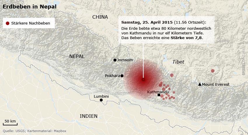 Karte Nepal - Erdbeben - Nachbeben