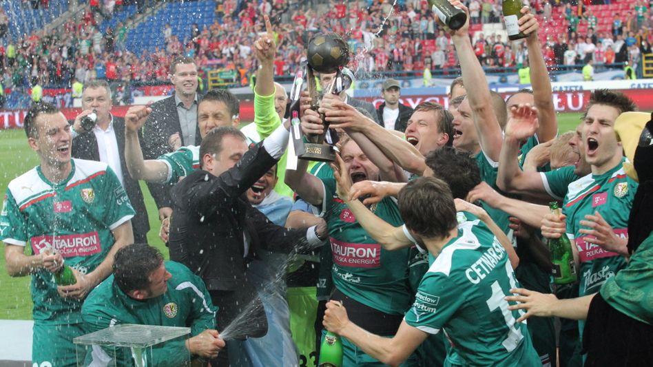 Schnaps? Nein, lieber Champagner: Slask Wroclaw feiert die polnische Meisterschaft