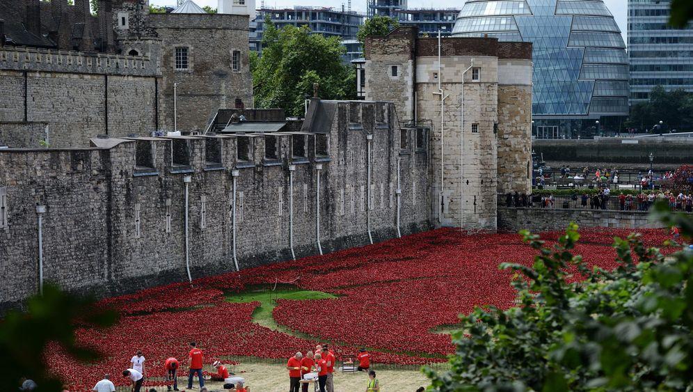 London: Keramikblumen im Burggraben