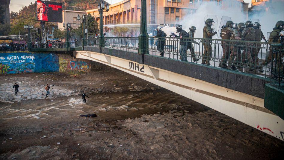 Situation kurz nach dem Sturz in Santiago de Chile