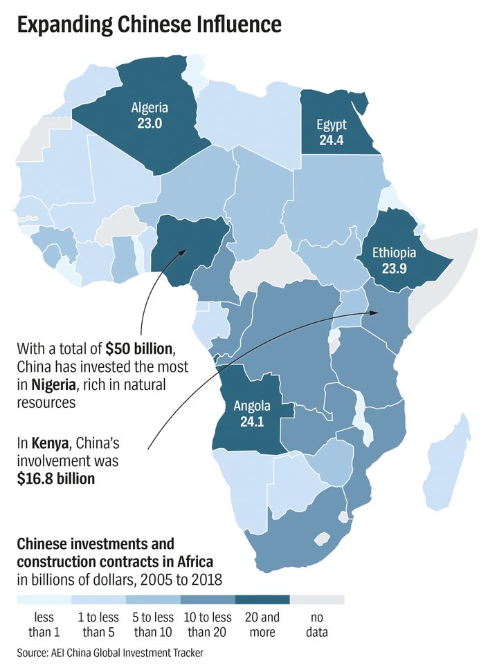 Caption: Kornfeld 2419 Afrika In den Fängen der Chinesen Karte chinesische Investitionen Bauaufträge China Algerien Ägypten Nordafrika Kenia Angola Nigeria ÄthiopienDatum: 8. Juni 2019 Expanding Chinese Influence Algeria 23.0 Egypt 24.4 Ethiopia 23.9 Angola 24.1 With a total of $50 billion, China has invested the most in Nigeria, rich in natural resources In Kenya, China's involvement was $16.8 billion Chinese investments and construction contracts in Africa in billions of dollars, 2005 to 2018 Source: AEI China Global Investment Tracker