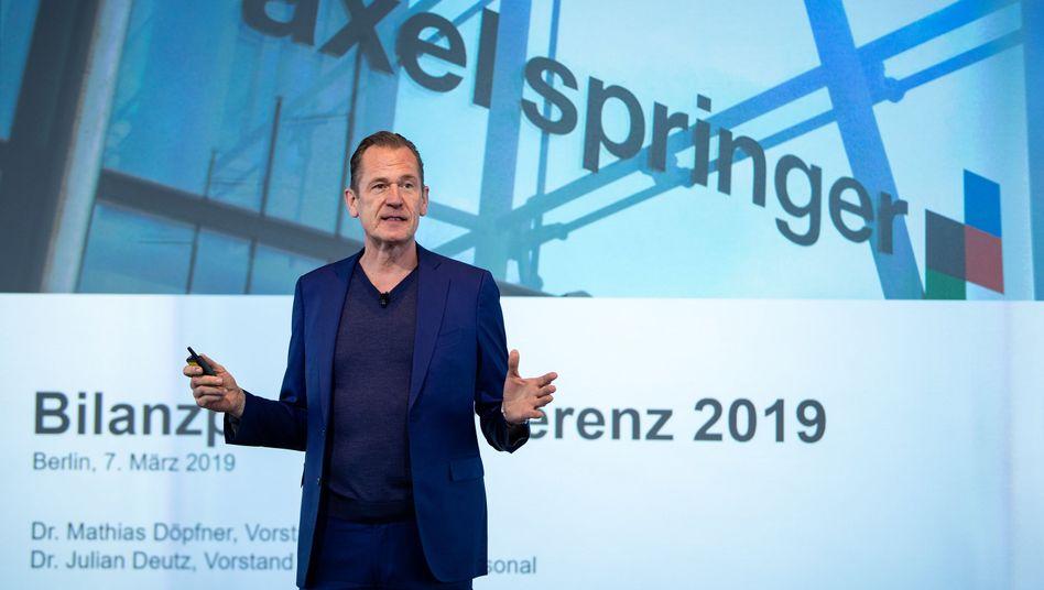"""Mathias Döpfner, seit 17 Jahren im Vorstand der Axel Springer SE: """"Wo strukturell Umsatzrückgang herrscht, müssen wir restrukturieren und Arbeitsplätze abbauen."""""""