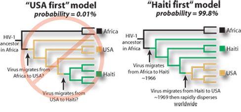 Ausbreitung von Aids: Rechts das von den Forschern erstellte Modell der Besiedelung von Haiti aus, links das ihrer Meinung nach widerlegte Modell