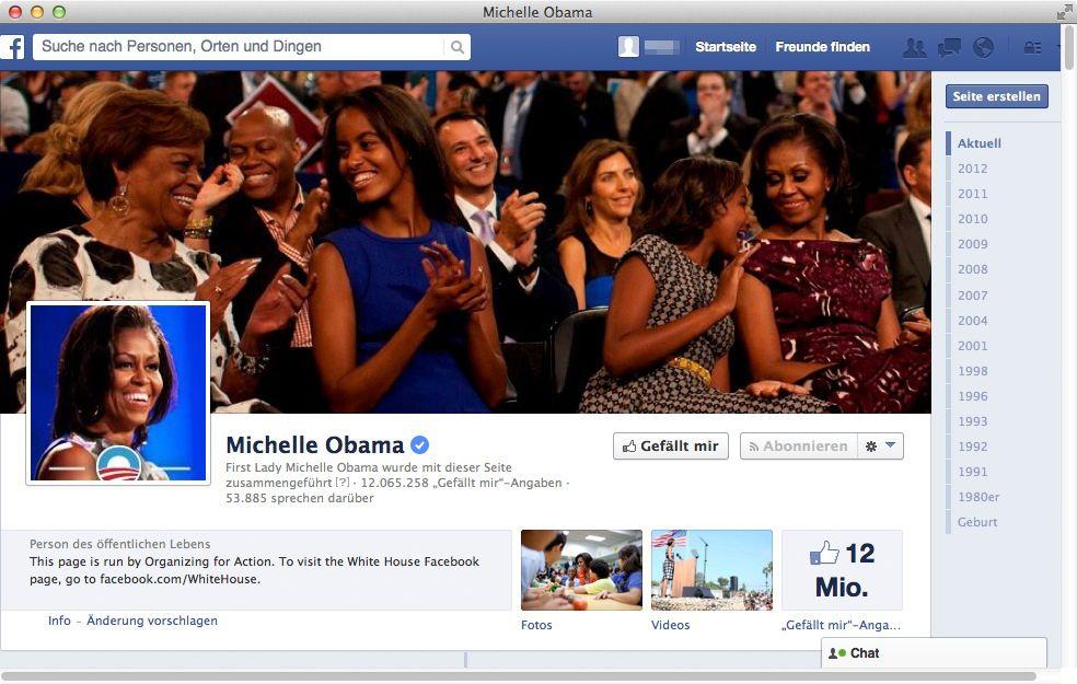 NUR ALS ZITAT Screenshot Facebook/ Michelle Obama
