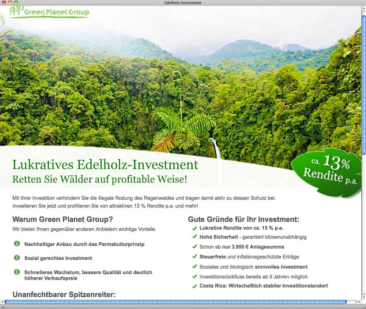 EINMALIGE VERWENDUNG NUR ALS ZITAT/ Screenshot/ Edelholz Investment