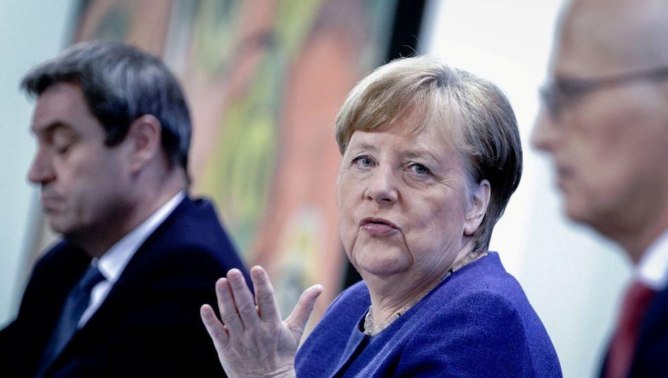 Markus Söder, Angela Merkel, Peter Tschentscher