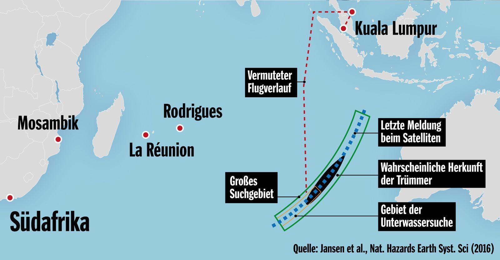 Karte MH370 Trümmer
