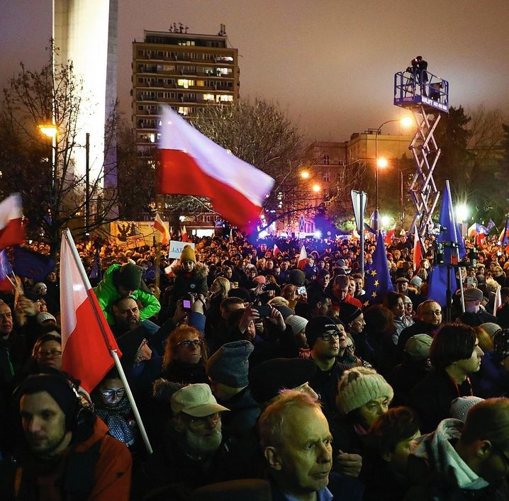 "Protesters in Warsaw: ""Let's not forget that Poland and Hungary are young, fragile democracies,"" Jourová says."