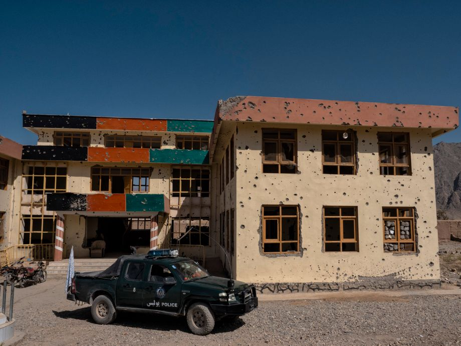 This government building in Gizab was damaged during fighting between Taliban and former government forces.