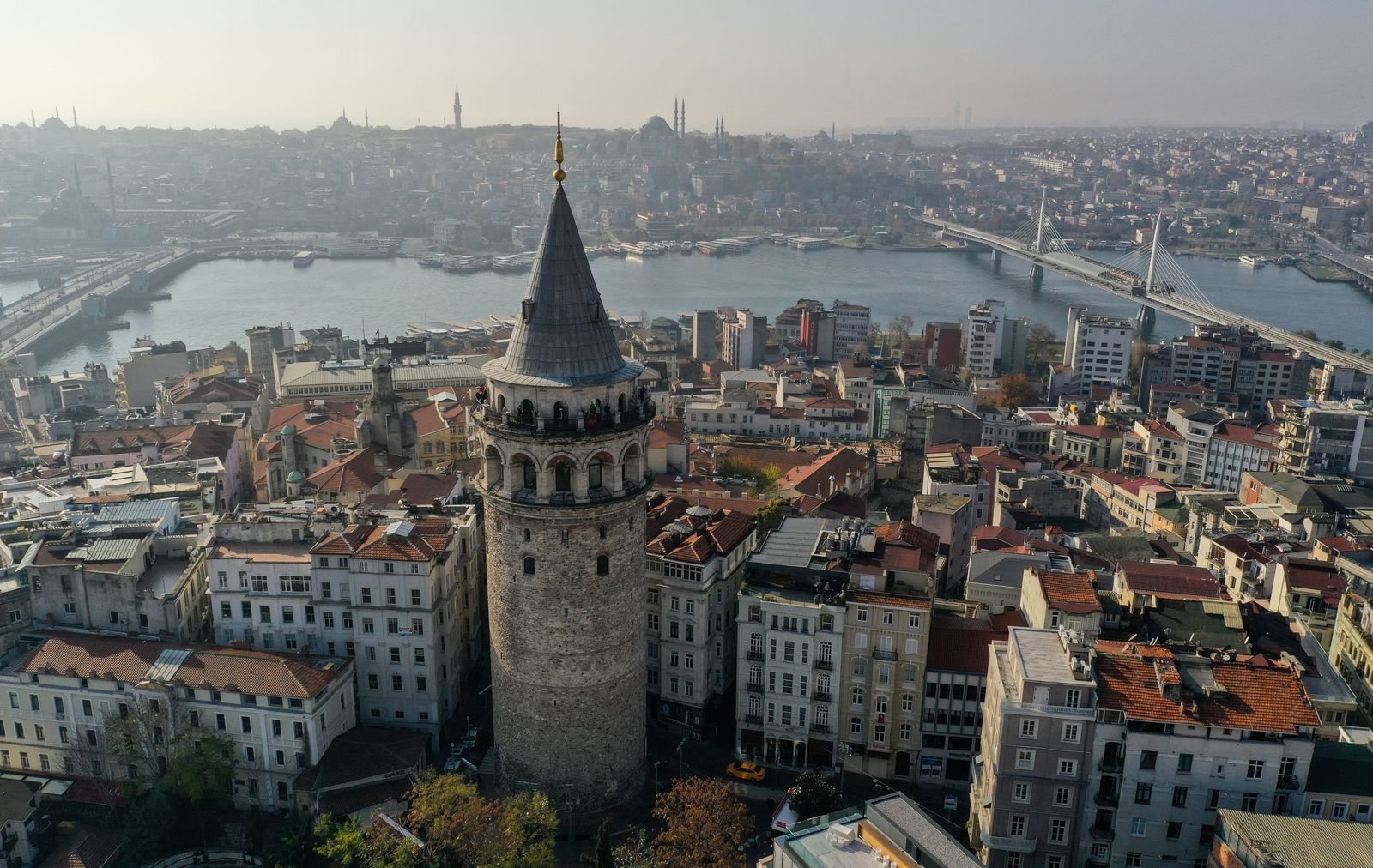 Drone footage reveals historical Glata Tower during a two-day curfew which was imposed to prevent the spread of the coronavirus disease (COVID-19), in Istanbul
