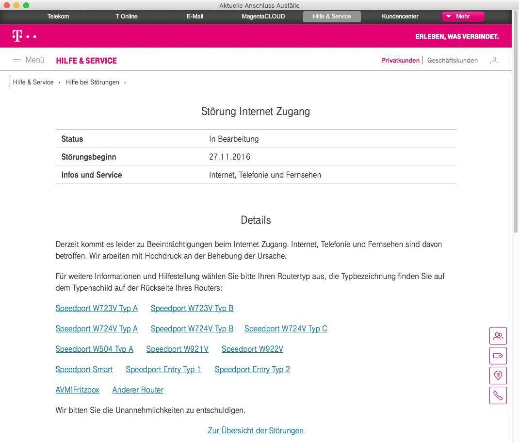 NUR ALS ZITAT Screenshot Telekom Netzausfall