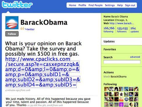 "Twitter-Account ""BarackObama"": 260.000 Follower"