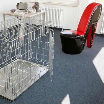 Hundekäfig, lederner Stiefelsitz (Beweisstücke der Staatsanwaltschaft): Junge Frauen gequält und gedemütigt