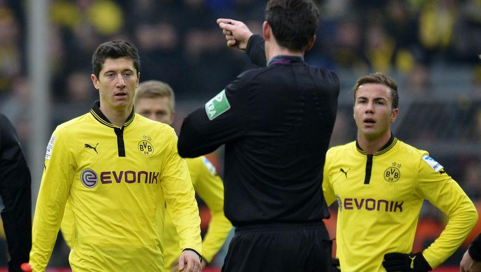 BVB-Stürmer Lewandowski (l.): Drei Spiele Sperre nach Tritt gegen Skjelbred