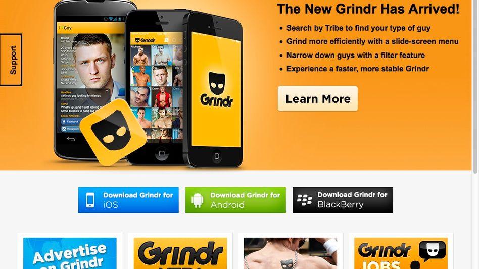 Screenshot der Grindr-Website: Die App wirbt mit Schnelligkeit und Effizienz