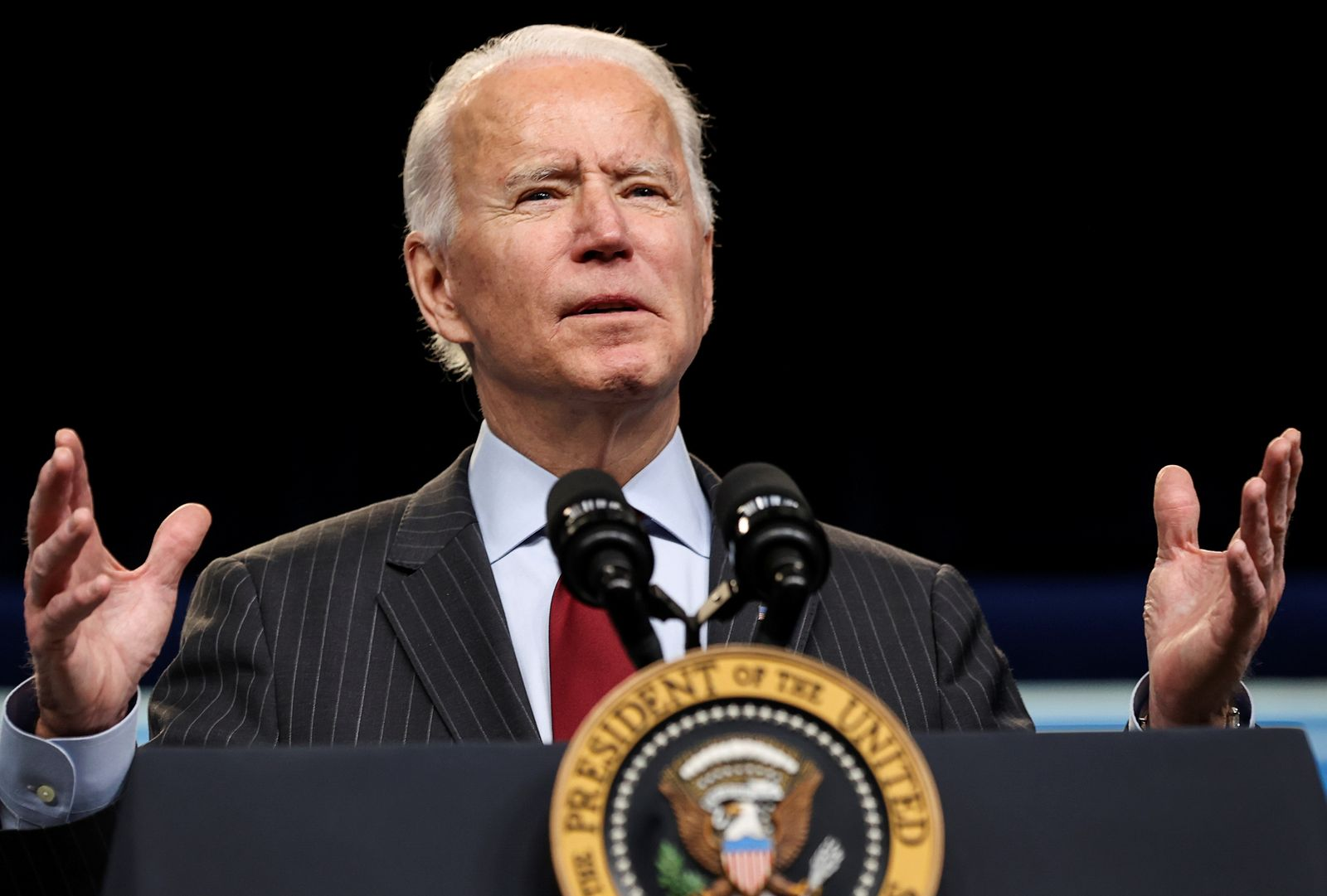 U.S. President Biden makes an announcement on coronavirus aid for small businesses at the White House in Washington