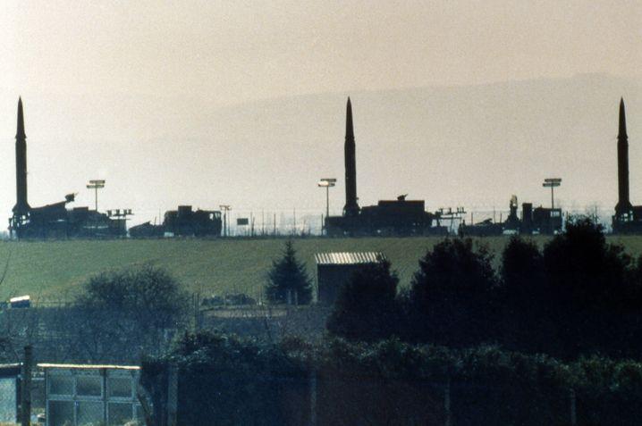 Drei Pershing-II-Raketen in Mutlangen (April 1987)