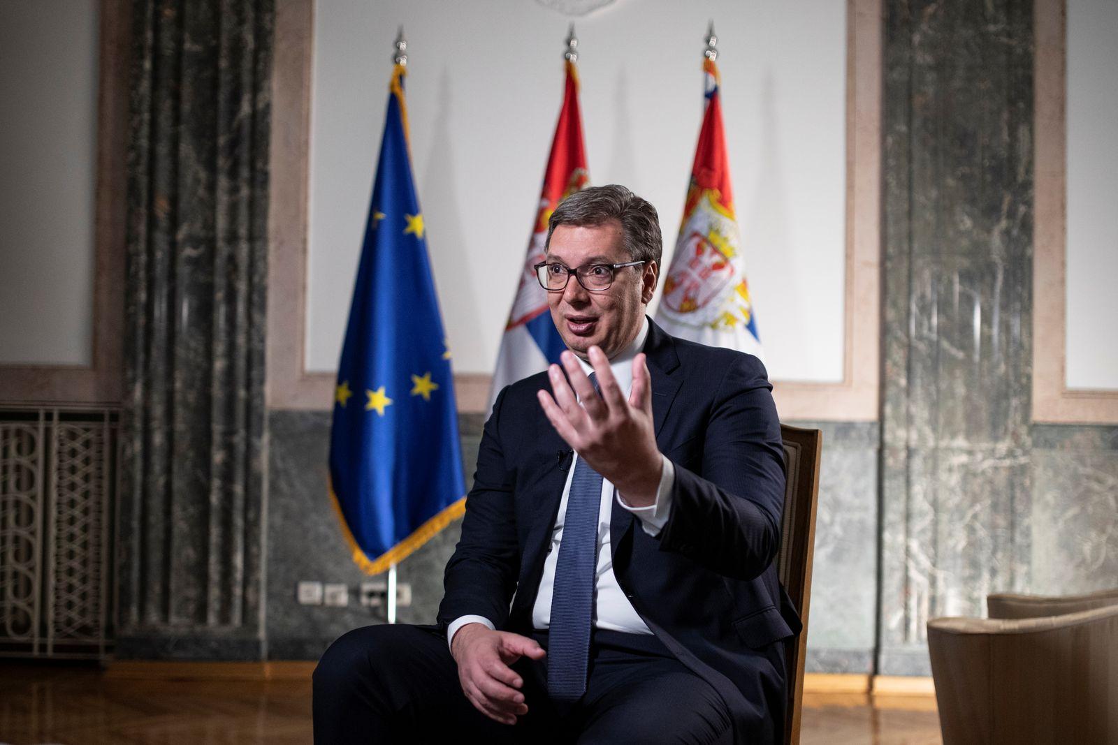 Serbian President Aleksandar Vucic attends an interview with Reuters in Belgrade