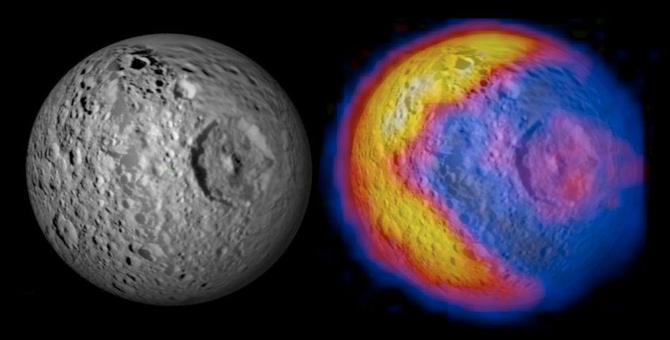 Mond Mimas: Temperaturkarte (r.) weckt Erinnerungen an Computerspiel