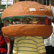 A demonstrator in Munich wears a model of a hamburger on his head.