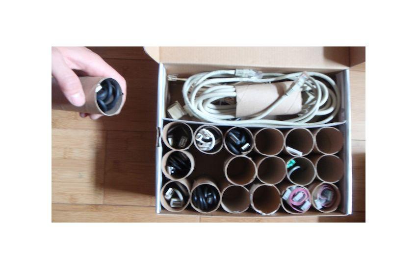 EINMALIGE VERWENDUNG 10 Lifehacks fürs Büro/ Kabelsortierer
