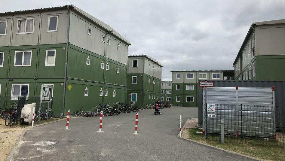A refugee shelter in Hamburg's HafenCity neighborhood