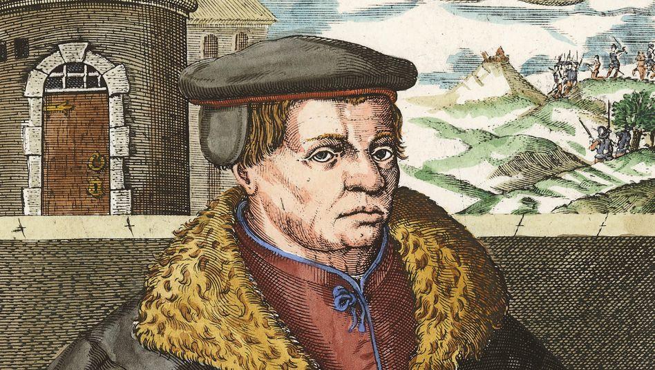 Thomas Müntzer auf einem Kupferstich von Christoffel van Sichem