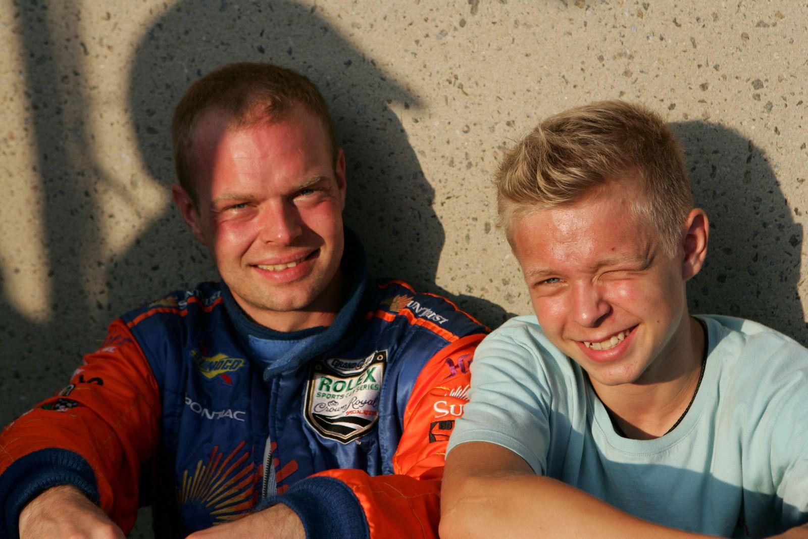 Jan Magnussen (DEN) SunTrust Racing with his son Kevin Magnussen (DEN) Grand-Am, Rd12, Montreal, Canada, 3 August 2007.