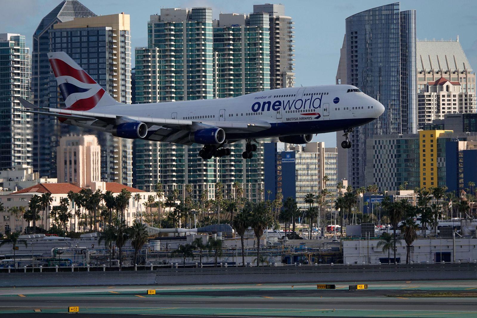 March 15, 2020, San Diego, California, USA: A British Airways Boeing 747 arrives for a landing at San Diego Internationa