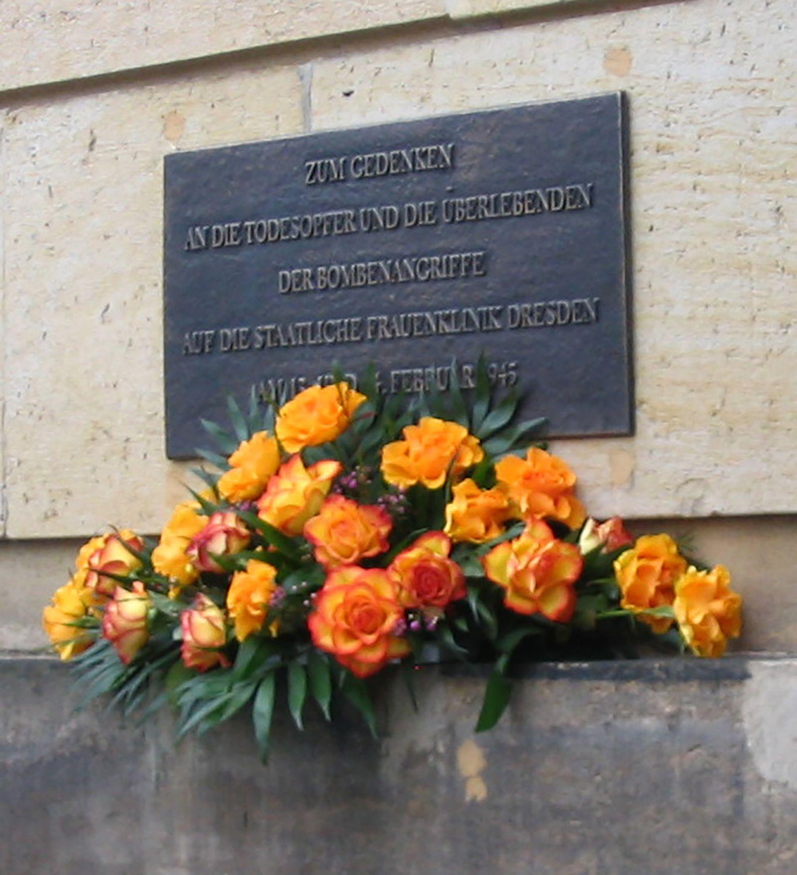 Bombardierung Dresden - Gedenktafel