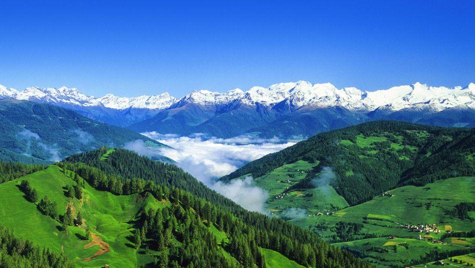 Blick von der Kreuzspitze in Südtirol