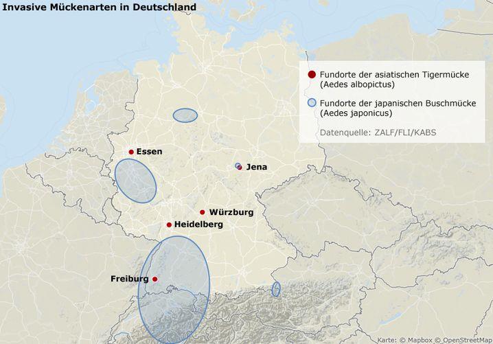 Zusätzlich zu den auf der Karte eingezeichneten Fundorten hat die Kommunale Aktionsgemeinschaft zur Bekämpfung der Schnakenplage (KABS) die Asiatische Tigermücke an folgenden Orten beobachtet: in Baden-Württemberg entlang der A5 und an einem Rastplatz an der A81, sowie entlang der A93 in Südbayern. (Zum Vergrößern klicken)