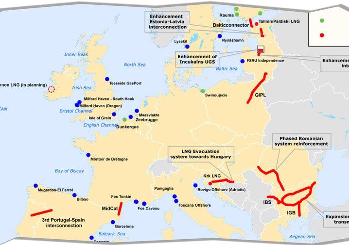 Screenshot: So sieht Brüssels Strategie für eine unabhängige europäische Gasversorgung im Detail aus. Zentrale Vorhaben sind rot eingezeichnet. Klicken Sie auf das Bild, um die komplette Grafik angezeigt zu bekommen.