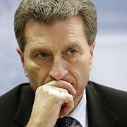 Opfer einer Torten-Attacke: Günther Oettinger