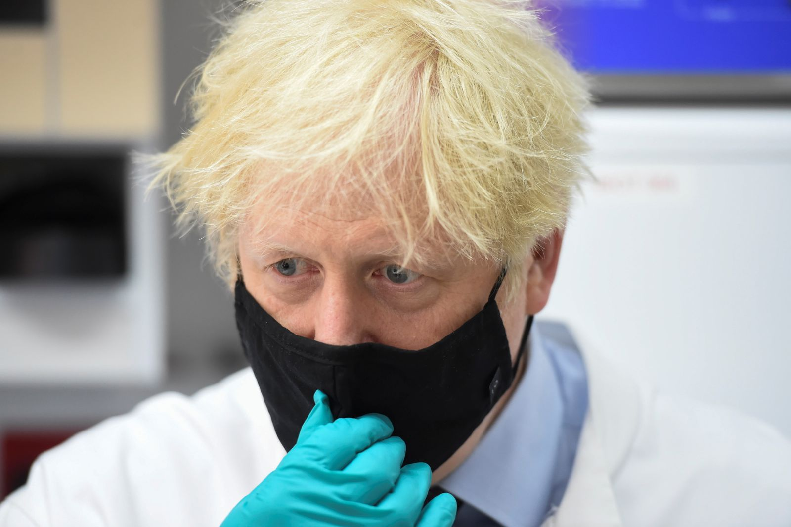 Britain's Prime Minister Boris Johnson visits the The National Institute for Biological Standards