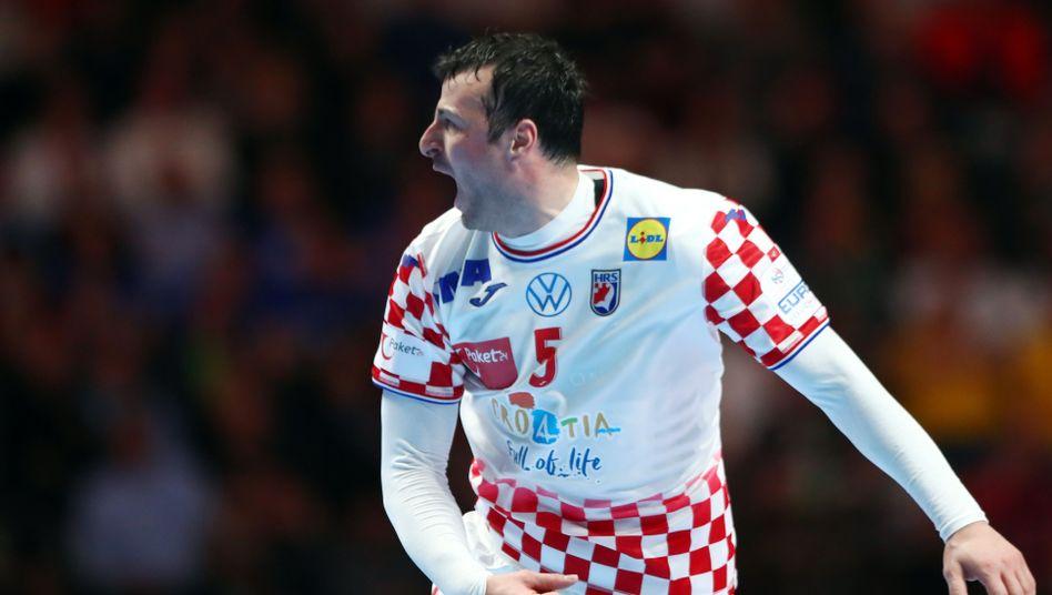 Kroatiens Kapitän Domagoj Duvnjak bejubelt den Finaleinzug seines Teams